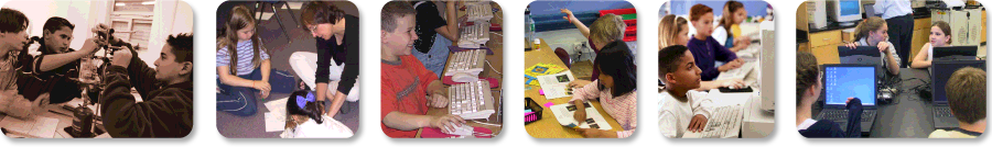 Photographs of students in various learning environments.